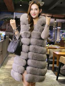 Chaqueta de piel sintética Chaqueta de invierno gris Chaqueta con capucha sin mangas para mujeres