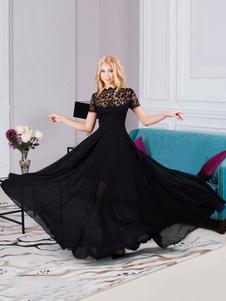 أسود فستان ماكسي فستان الدانتيل قصير الأكمام مساء باتو الرقبة الشيفون الصيف اللباس