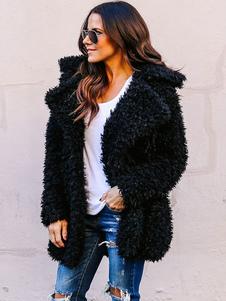 Пальто из искусственного меха с плюшевым пальто с длинным рукавом с длинным рукавом