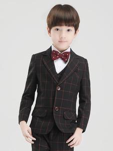 Anel portador roupa meninos de casamento ternos smoking xadrez crianças traje de cerimónia 5 peça