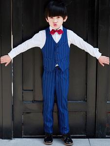 Ring Bearer Outfit Wedding Boys Dark Navy Kids Abbigliamento formale 4 pezzi