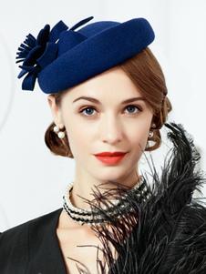 Ретро Hat Шляпа Cap Женщины Королевский Vintage Deep Blue Headpieces
