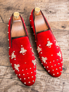 Mens Spike Loafers shoes Glitter red Round Toe Corduroy Rivets Bee Detail Prom Shoes