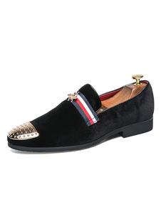 Homens Mocassins Pretos Corduroy Round Toe Metal Detalhe Deslizamento Em Sapatos Sapatos De Negócios Casuais