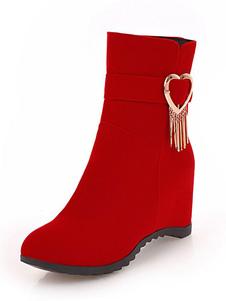 Красные сапоги клина Нубук Круглые носки Металлические ботинки для лодыжки Женские зимние пинетки