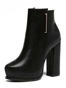 Botines mujer negro de tacón gordo de puntera de forma de almendra Detalles metálicos 10cm de PU Primavera Invierno Color liso Cremallera 2020