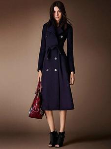 abrigo mujer Azul marino oscuro con manga larga de cuello vuelto de lana Color liso con bolsillos Normal estilo moderno Otoño Invierno