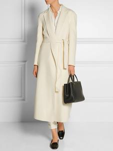 White Wool Coat Women Wrap Coat Pockets Turndown Collar Long Sleeve Winter Coat