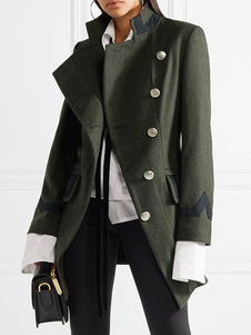 トレンチコート ハンターグリーン  無地 ウール 折り襟 レディースファッション 女性上着 長袖 ボタン ポリエステル レディースアウター レディースコート