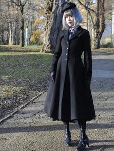 كلاسيكي لوليتا المعطف الصوف ذروته طية صدر السترة مطوي معطف أسود لوليتا