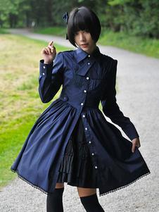 Clássico Lolita OP Vestido Estilo Militar Plissado Botão Decoração Lace Up Algodão Lolita One Piece Vestido