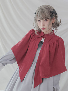 Красная Лолита Капот Плиссированный Нерегулярный дизайн Плаща Лолита