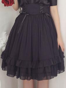 Классическая Lolita SK Слоистая шифоновая шифоновая черная юбка Lolita