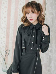 Классическая рубашка Lolita Ruffle Bow Irregular Design Black Cotton Lolita Blouse