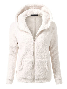 Zip Up Hoodie Teddy Bear jaqueta de manga comprida com capuz jaqueta de inverno para mulheres