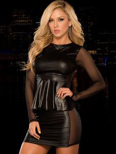 Sexy Black Clubwear Top in due pezzi di ecopelle con gonna da notte