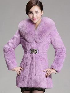 Abrigo de invierno con cuello en V de mangas largas para mujer