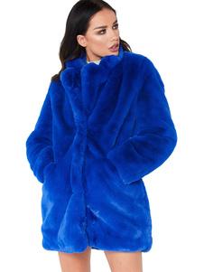 Abrigos Mujer Piel Sintética Mangas Largas Abrigos De Invierno Cuello De Cobertura Chaquetas Suave