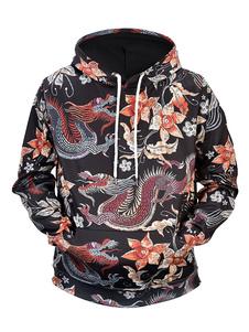 Felpa con cappuccio da uomo a maniche lunghe nera con stampa floreale ispirata ai draghi cinesi