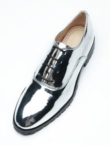 Os homens de prata de Oxford calçam o dedo do pé redondo das sapatas de vestido ata acima sapatas do partido
