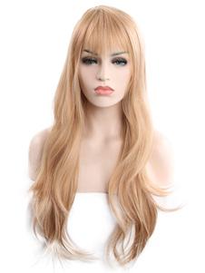 Светлые волосы Парики Женщины Длинные натуральные волны Синтетические парики с Bangs