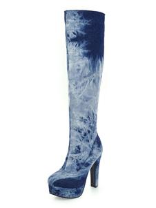 Stivali alti mandorla tacco largo Stivali al ginocchio Stivali Blu scuro  12cm con sfumature Primavera Autunno Zip all'aperta da cowboy