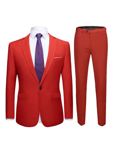 Abiti da sposo rossi Tuxedo Groom And Groomsman Suit Notch Giacca da bavero Pantaloni Gilet Outfit Uomo Abbigliamento formale 3 pezzi