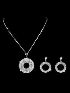Свадебные ювелирные изделия Серебряные обручи Серьги и ожерелье Rhinestone Подвеска Люкс Комплект ожерелье