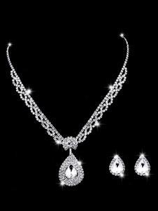 Conjunto de jóias de casamento de prata brincos e colar de strass conjunto de colar de noiva