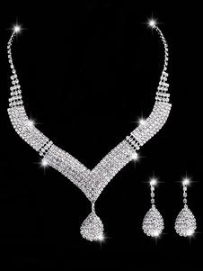 Комплект ювелирных изделий для браслетов Серебряные серьги с ожерельем и ожерельем