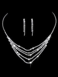 Свадебные ювелирные изделия Комплект Серебряные серьги и ожерелье Rhinestone из бисера Tiered Bridal Necklace Set
