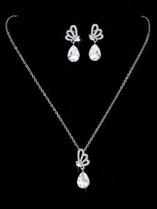 Свадебное ожерелье Комплект Серебряный Drop Серьги Rhinestones Бисера Люкс комплект ювелирных изделий