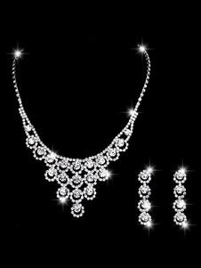 Свадебное ожерелье Комплект Серебряные серьги и ожерелье Rhinestone Bridal Jewelry Set