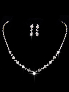Conjunto de colar de casamento de prata strass Beading conjunto de jóias brincos de noiva e colar