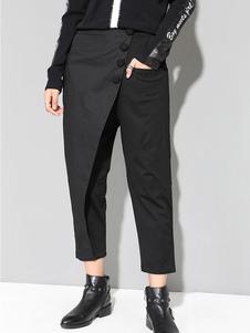 Calças pretas de mulheres Botões Calças cortadas de cor sólida
