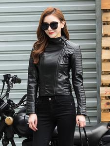 Giacca da moto da donna in pelle nera con cerniera