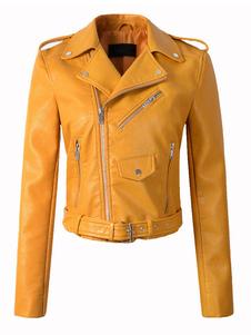 Chaqueta de motociclista de cuero de la chaqueta de las mujeres como chaqueta de motorista de la cintura de la hebilla de la cremallera de la manga larga con los bolsillos