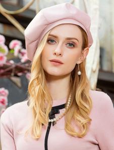 Chapéu de boina retro mulheres rosa cocar vintage dia das bruxas