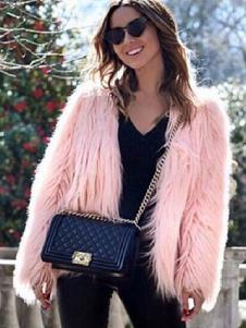 Abrigo de piel sintética Abrigo mullido de mujer Abrigo de invierno de color sólido