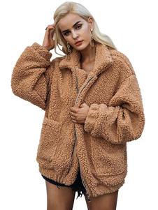 Пальто из искусственного меха Пальто из медвежонка с отложным воротником