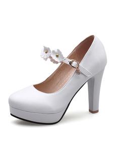 Branco salto alto mulheres plataforma flores frisada Mary Jane sapatos