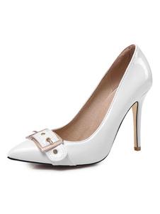 Branco De Salto Alto Mulheres Apontou Toe Detalhe Da Fivela Deslizamento Em Bombas Plus Size Vestido Sapatos