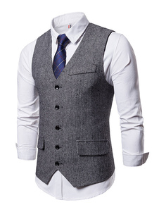 Homens Terno Colete Único Breasted Tuxedo V Neck Patterned Bolso 1920 Colete