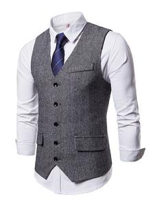Мужские костюмы Жилет Одноместный грудь Tuxedo V Шея Узорчатый карманный 1920-х годов Жилет