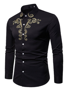 Homens Casual Camisa Bordado Slim Fit Manga Longa Camisa Preta