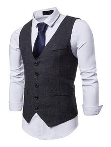 Homens terno colete decote em v botão para cima bolso 1920 colete preto