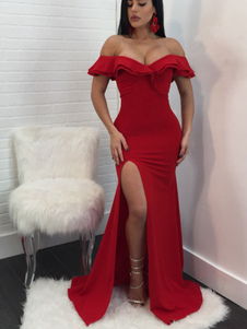 Сексуальное вечернее платье Red Maxi Sexy Evening Dress Shaping Off The Shoulder Summer Dress