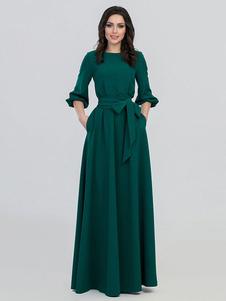 Vestido largo verde  Moda Mujer con 3/4 manga de poliéster Vestidos Color liso con escote redondo elegante Primavera Otoño