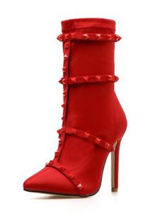 Botas vermelhas do estiramento apontaram os saltos do salto alto dos rebites do dedo do pé para mulheres
