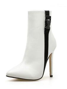Botas de salto alto Toe pontudo branco Zip Up Ankle Boots For Women
